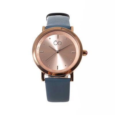 Reloj Acero y Extensible en Piel en Color Azul