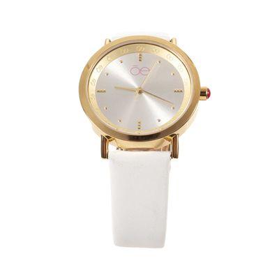 Reloj Acero y Extensible en Piel en Color Blanco