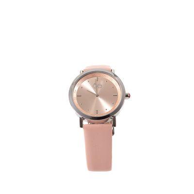 Reloj Acero y Extensible en Piel en Color Rosa