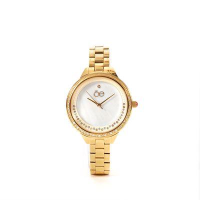 Reloj Acero Inoxidable y Acabado Nacar en Color Oro