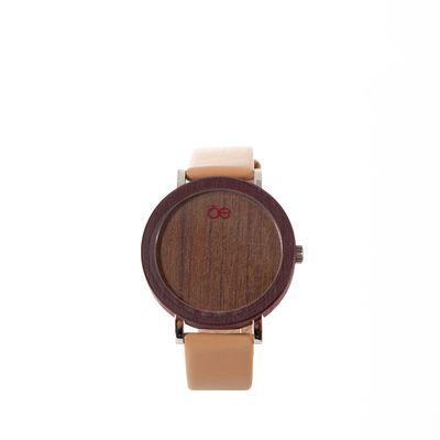 Reloj Madera y Piel en Color Nude