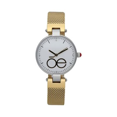Reloj Minimalista con Monograma de la Marca y Extensible de Malla Metálica en Color Oro
