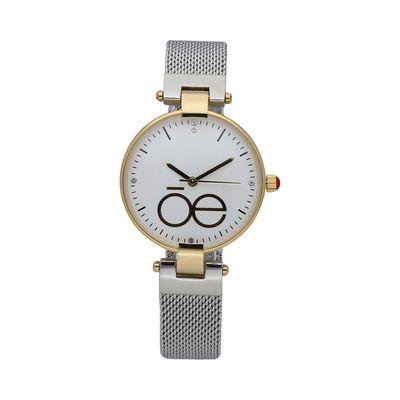 Reloj Minimalista con Monograma de la Marca y Extensible de Malla Metálica en Color Plata