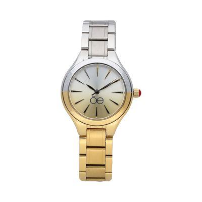 Reloj Contemporáneo con Degradé de Color y Extensible de Acero Inoxidable en Color Oro