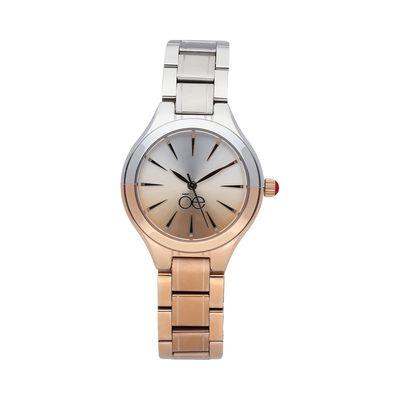 Reloj Contemporáneo con Degradé de Color y Extensible de Acero Inoxidable en Color Rosa