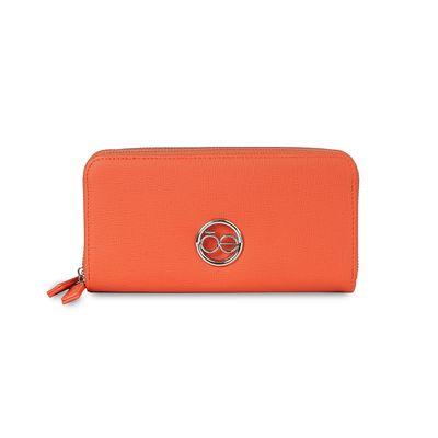 Cartera Cierre Doble Cloe en Color Naranja