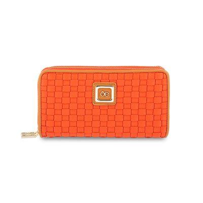 Cartera Cierre Doble con Acabado Tejido en Color Naranja