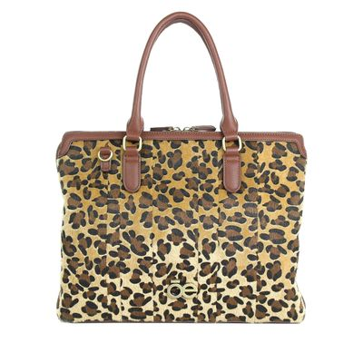 Porta Laptop con Estampado de Leopardo en Color Camel