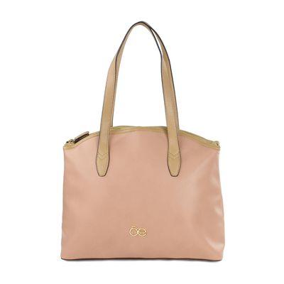 Bolsa Tote con Contraste en Vaqueta en Color Rosa