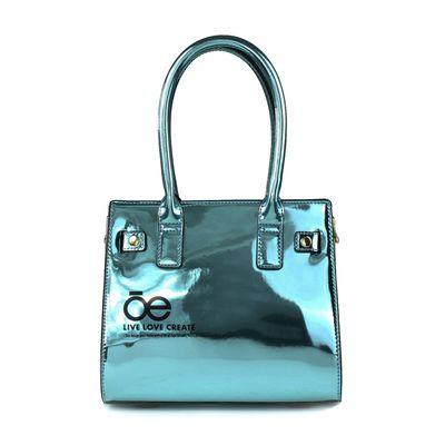 Bolsa Satchel Acabado Espejo en Color Azul