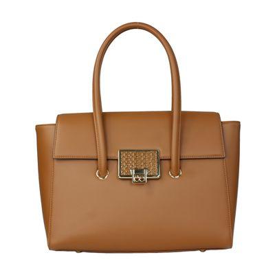 Bolsa Briefcase con Broche en Color Camel