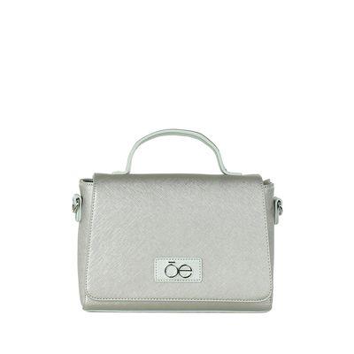 Bolsa Briefcase con Textura Saffiano en Color Plata