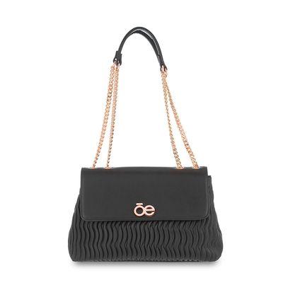 Bolsa Briefcase con Drapeado en Color Negro