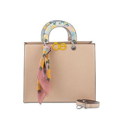 Bolsa Satchel Estampado con Mascada en Color Beige