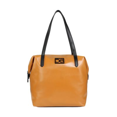 Bolsa Tote con Asas en Contraste en Color Tan