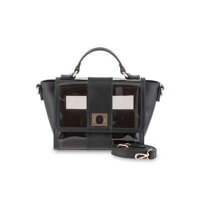 Bolsa Crossbody con Transparencia en Color Negro