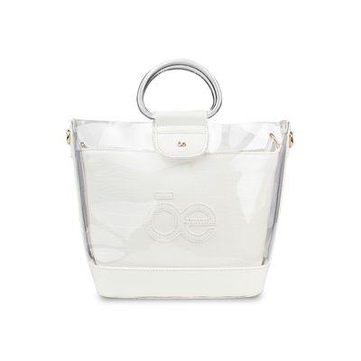 Bolsa Satchel con Transparencia y Acabado Croco en Color Blanco