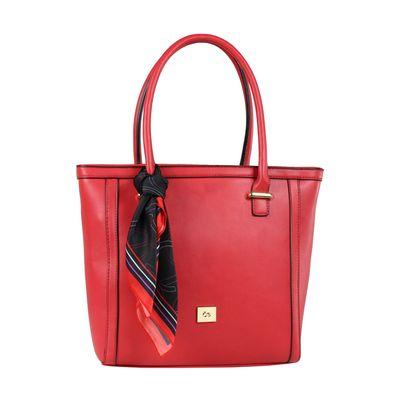Bolsa Tote con Mascada en Color Rojo