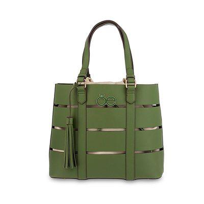 Bolsa Tote Cortes Horizontales en Color Verde