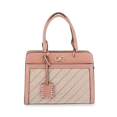 Bolsa Satchel con Bordado en Color Rosa