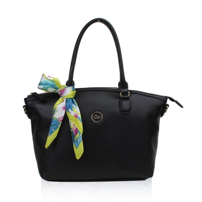 Bolsa-Satchel-con-mascada-en-Color-Negro- -Cloe