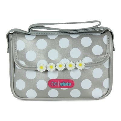 Bolsa Crossbody Cloe Girls con Lunares y Flores en Color Plata