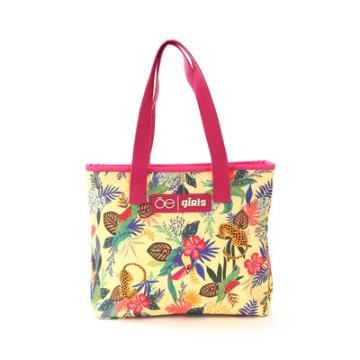 Bolsa Tote Cloe Girls con Estampado Tropical en Color Amarillo
