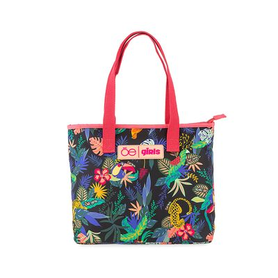 Bolsa Tote Cloe Girls con Estampado Tropical en Color Rosa