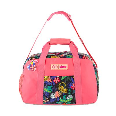 Duffle Bag Cloe Girls con Estampado Tropical en Color Rosa