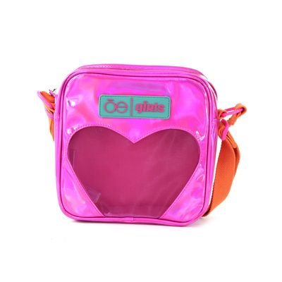 Bolsa Crossbody Cloe Girls con Corazón en Color Magenta