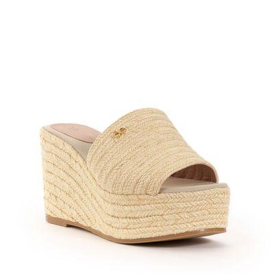 Sandalia Plataforma Tejido con Yute en Color Beige