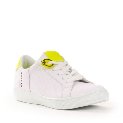 Tenis Blanco con Contrastes Neón en Color Limon