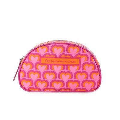 Cosmetiquera Cloe by Agatha Ruiz de la Prada estampado de Corazones en Color Rosa