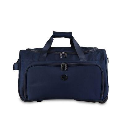 Duffle Bag con Ruedas Detalles Metálicos en Color Marino