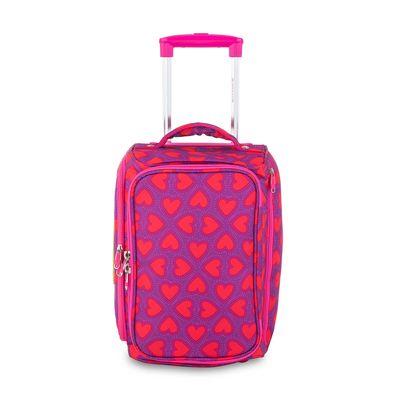 """Maleta Duffle Bag con Ruedas 16"""" Cloe by Agatha Ruiz de la Prada con Estampado Corazones en Color Magenta"""