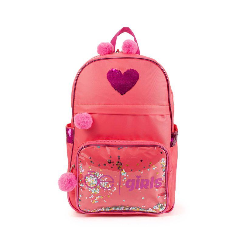 Mochila-Porta-Laptop-Cloe-Girls-con-Estrellas-y-Pompones-en-Color-Coral-|-Cloe