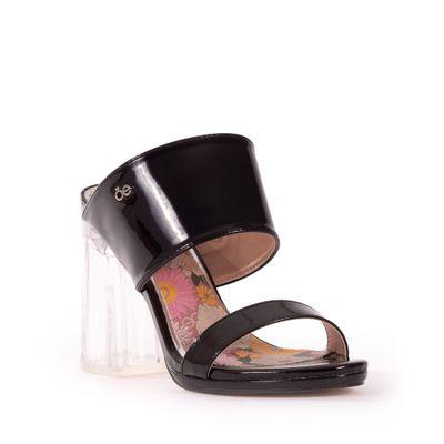 Sandalia media Plataforma con Tacón Transparente en Color Negro