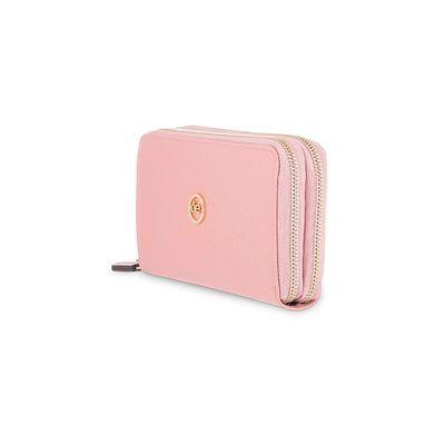Cartera Cierre Doble con Contraste de Color en Color Rosa