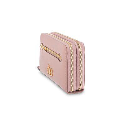 Cartera Cierre Doble con Bolsillo Frontal en Color Rosa