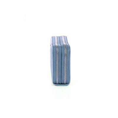 Cartera Cierre Doble Acabado Saffiano en Color Azul