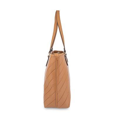 Bolsa Tote con Embossado Diagonal en Color Camel