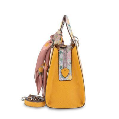 Bolsa Satchel Estampado con Mascada en Color Amarillo