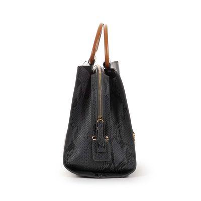 Bolsa Satchel de Vipera con Asa de Madera en Color Negro