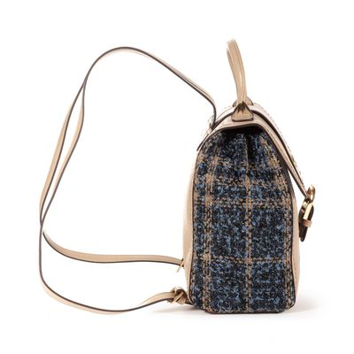 Mochila con Tweed en Color Beige