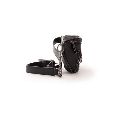 Bolsa Cangurera con Aplicación de Estoperoles en Color Negro