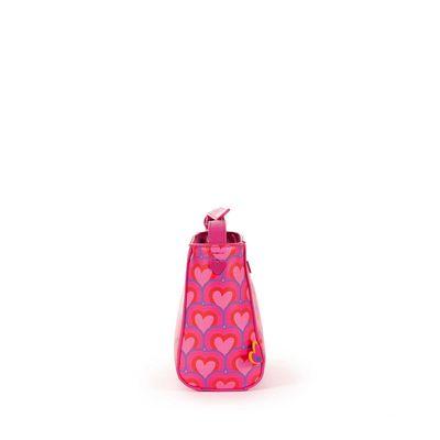 Bolsa Crossbody Cloe by Agatha Ruiz de la Prada con Estampado de Corazones en Color Magenta