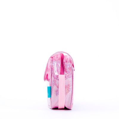 Bolsa Crossbody Cloe Girls de Mica Transparente en Color Rosa