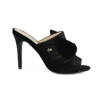 Sandalia Mule Moño de Terciopelo en Color Negro