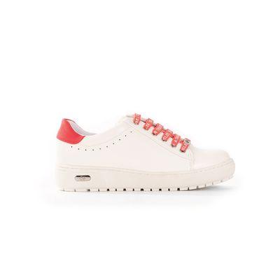 Tenis Blancos con Agujeta impresa en contraste en Color Coral