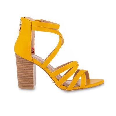 Sandalia Con Straps y tacon de Vaqueta en Color Amarillo